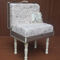 Large Vintage Paris Themed Suitcase Chair
