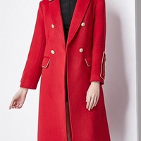 Red Wool Coat W/ Gold Buttons