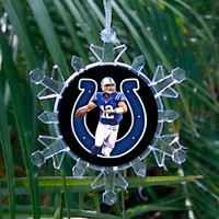 Indianapolis Colts Andrew Luck Snowflake Blinking Light Holiday Holiday Christmas Tree Ornament