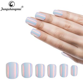 Fengshangmei Mirror Nails Artificial Fake Nails Metallic Reflective False Nails With Glue