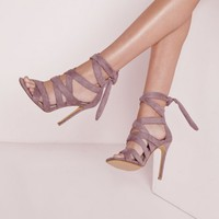 Missguided - Ankle Lace Up Gladiators Mauve