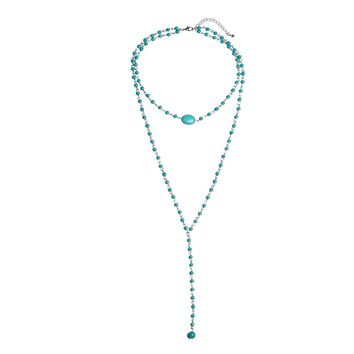 Charm Layer Beads Necklace Fashion Natural Blue Stone Pendant Necklace Women Jewelry 171129