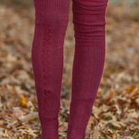 Snowman Wanted Boot Socks-Burgundy