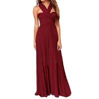 Women's Formal Convertible Multi Way Wrap Long Bridemaid Maxi Dress