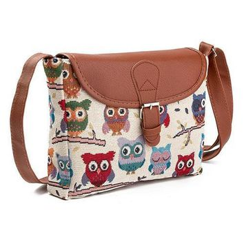 Lady Canvas Cartoon Owl Printed Flap Bag