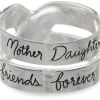 "Sterling Silver ""Mother Daughter Friends Forever"" Double Band Ring"