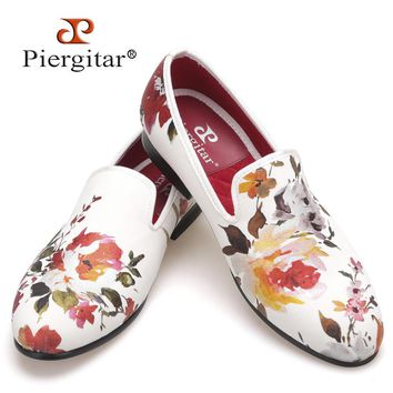 New style Handmade white color print gold flower men wedding and party men shoes Fashi