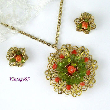Vintage Necklace  Pendant Coral Rose Peridot Earrings clip on