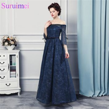 Strapless Navy Bule Bridesmaid Dresses with Short Sleves Off the Shoulder Lace Up Wedding Event Maid of Honor Brides Maid Dress
