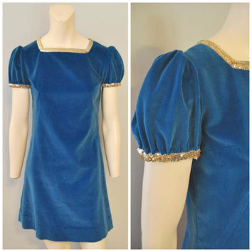 Vintage 1960's Handmade Blue Velvet Mini Gogo Dress Puffy Sleeves and Silver Sequin Trim Minidress Costume Midcentury Shift Dress Size Small