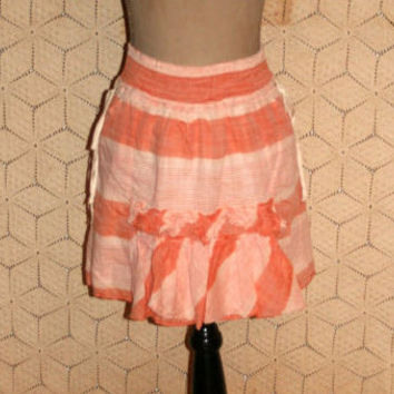 Cotton Skirt Summer Skirt Casual Skirt Mini Skirt Hippie Boho Skirt Madras Stripe Skirt Orange Peach Banana Republic S Small Womens Clothing