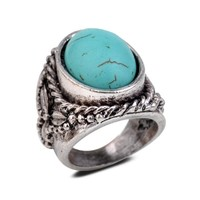 Yazilind Vintage Antique Oval Cut Blue Turquoise Retro Silver Plated Embossed 6.5 8 9 Ring Women