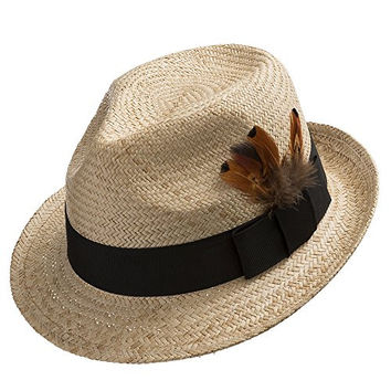 Fedora Sedona Straw Panama Hat Trilby with Feather NATURAL 7 5/8