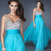 Ball Gown High Rise V-neck Stylish Prom Dress [4919731332]