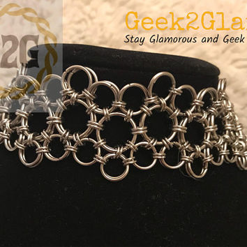 Custom Length Chainmail Chainmaille Lace Choker Stainless Steel Collar Necklace