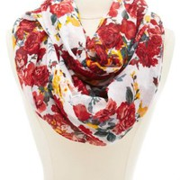Floral Print Infinity Scarf by Charlotte Russe - White Combo