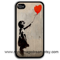 iphone 4 case, Banksy Balloon Girl, iPhone 4s Case, iPhone 4 Hard Case, pattern print black iPhone Case