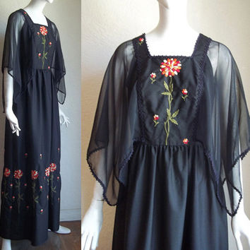Vintage 70s Gypsy Embroidered Floral Chiffon Angel Sleeve Maxi Dress S M B34