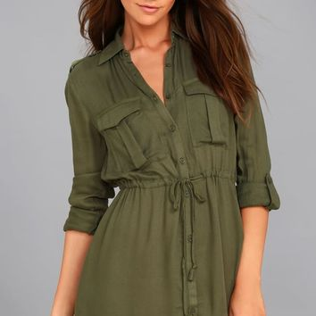 Jack by BB Dakota Casey Olive Green Long Sleeve Dress
