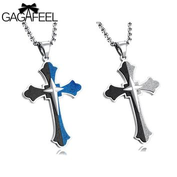 GAGAFEEL Engraved Custom Name Cross Men Necklace Scrub knight Jewelry Stainless Steel Blue Black Silver Color Jesus Choker