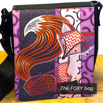 Hand Painted Fox Print, Messenger Bag Shoulder, Hip Bag, Painted Bags, Purple Striped Bag, Fox Artwork