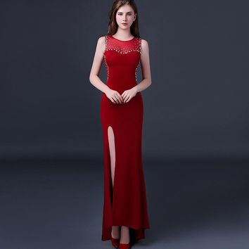 Sexy Dress 2018 Women Long Lace Formal Winter Spring Mermaid Maxi Bodycon Club Ladies Evening Party Night Red Vintage Dresses