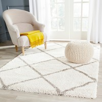 Safavieh Hudson Diamond Shag Ivory Background and Grey Rug (8' x 10') | Overstock.com Shopping - The Best Deals on 7x9 - 10x14 Rugs