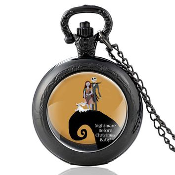 New  The Nightmare Before Christmas jack skellington Quartz Pocket Watch Classic Men Women Halloween Pendant Necklace Gift
