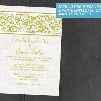 Yellow Rustic Country Burlap & Linen Wedding Invitations | Invites | Invitation Cards