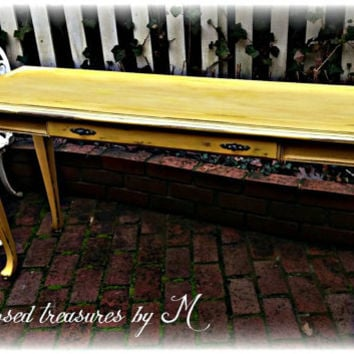 Vintage shabby chic, cottage, distressed yellow sofa table, distressed entry table, country cottage, french country, distressed, Upcycled