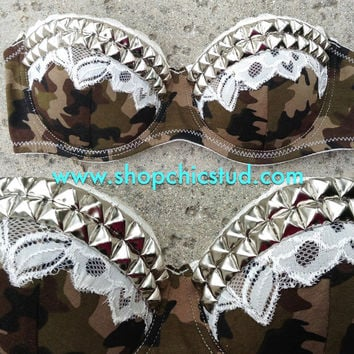 Studded Bustier Bra Top - Camo Print with Cream Lace - Silver- Gold - or- Black Studs