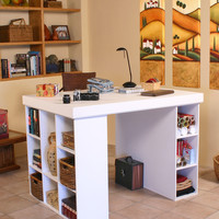 Venture Horizon Project Center with Bookcase and 3 Bin Cabinet