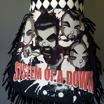 SYSTEM OF a DOWN - Upcycled Band/ Concert T-shirt Waist Apron
