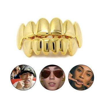 ac PEAPO2Q KUNIU Hip Hop Gold Colors Teeth Grillz Caps Top & Bottom Bling Teeth Silicone Set for Vampire Holloween Party Gifts Body Jewelry