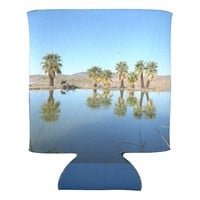 Palm Trees Reflected Can Cooler