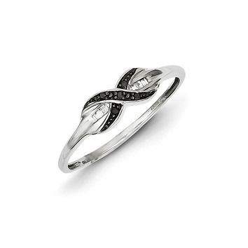 1/20 Ctw Black & White Diamond X Ring in Sterling Silver