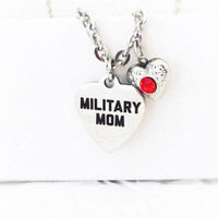 Gift for Mom - Military Mom Jewelry - Stainless Steel - Engraved Heart - Military Charm - Hypoallergenic Jewelry - Military Wife Gift
