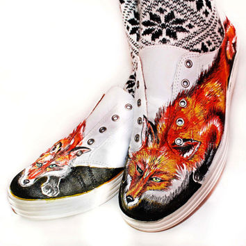 Shoes hand painted original Art with Foxes, size 9 US