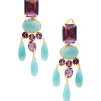 Amethyst & Amazonite Drop Earrings by Bounkit at Gilt