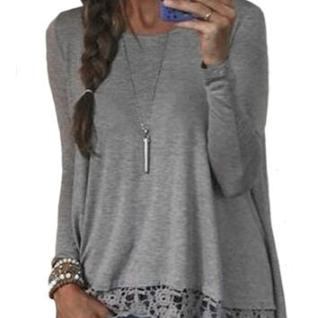 Long Sleeve Crochet Embroidered T-shirt