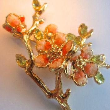 Coral Flower Blossoms SWOBODA Unsigned Brooch, Peridot, Vintage