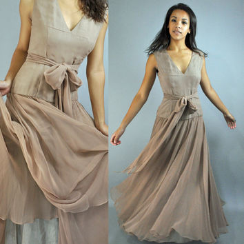50s ball gown PARTY DRESS sheer sweeping by rockstreetvintage
