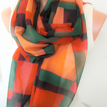 Women Scarf  Summer Scarf  Geometric design Scarf Gift for her Gift for Women  Boho Scarf retirement gift for woman Fabric Scarf-Accessories