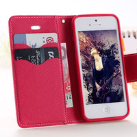 MERCURY Series Leather Case For Apple iphone 5C Wallet Stand Covers With Card Slot Holders Phone Bags Flip YXF03750