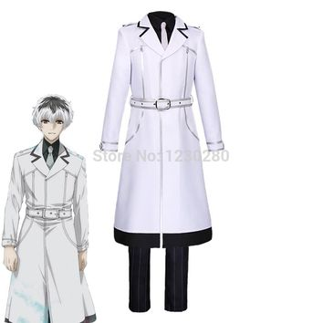 2018 New Anime Tokyo Ghoul Kaneki Ken Sasaki Haise Cosplay Costume Full Set Or Long Coat ONLY White Color