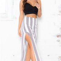Down The Line Maxi Skirt in White Stripe
