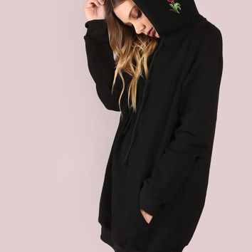 Black Pocket Front Embroidered Hood Sweatshirt | MakeMeChic.COM
