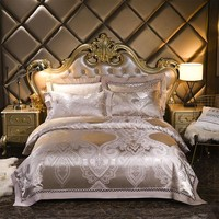 Luxury Silver golden jacquard silk satin bed set bedding sets 4pcs queen king size bed sheet set,bed set bed linen pillowcases