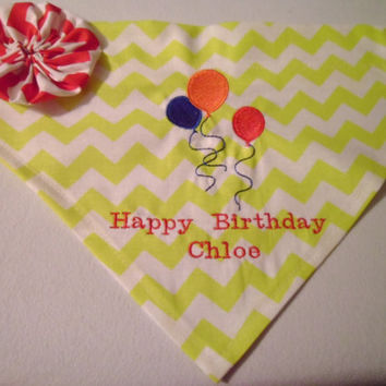 Monogram/Personalized Custom Happy Birthday Dog Bandana Chevron Over the Collar Bandana