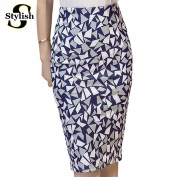 High Waist Skirt 2016 Summer New Fashion Korean Geometric Printed Sexy Sheath Pencil Skirts Knee-Length Ladies Office Clothing